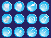 Dentist icons. Of the button - a tooth, a tooth-paste, a string in a vector Stock Photos