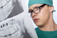 Dentist with jaw xray Stock Image