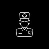 Dentist line icon. Dental and medicine, doctor sign vector graphics, a linear pattern on a black background, eps 10 Stock Illustration