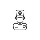 Dentist line icon. Dental and medicine, doctor sign vector graphics, a linear pattern on a white background, eps 10 Royalty Free Illustration