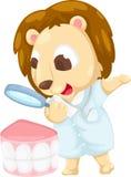 Dentist lion vector. Dentist lion illustration on a white background Royalty Free Stock Images