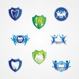 Dentist Logo with shield Protection Stock Images