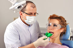 Dentist makes an impression Royalty Free Stock Photos