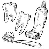 Dentist objects sketch Royalty Free Stock Photos