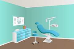 Dentist office clinic blue room illustration Royalty Free Stock Photos