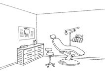 Dentist office clinic graphic art black white sketch illustration. Vector Royalty Free Stock Photography