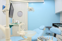 Dentist office. Is designed of blue color Stock Photos