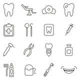 Dentist Office & Equipment Icons Thin Line Vector Illustration Set Stock Photo