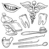 Dentist office objects sketch Royalty Free Stock Photography