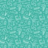 Dentist, orthodontics blue seamless pattern with line icons. Dental care, medical equipment, braces, tooth prosthesis royalty free illustration