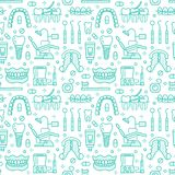 Dentist, orthodontics blue seamless pattern with line icons. Dental care, medical equipment, braces, tooth prosthesis. Floss, caries treatment, toothpaste royalty free illustration