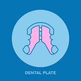 Dentist, orthodontics line icon of dental plate, teeth alignment. Tooth treatment equipment sign, medical elements Royalty Free Stock Photography