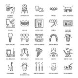 Dentist, orthodontics line icons. Dental care equipment, braces, tooth prosthesis, veneers, floss, caries treatment. And other medical elements. Health care Royalty Free Stock Photography