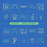 Dentist, orthodontics line icons. Dental care equipment, braces, tooth prosthesis, veneers, floss, caries treatment  Royalty Free Stock Photography