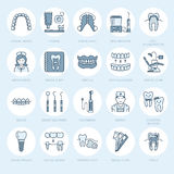 Dentist, orthodontics line icons. Dental care equipment, braces, tooth prosthesis, veneers, floss, caries treatment and Stock Images