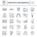 Dentist, orthodontics line icons. Dental care equipment, braces, tooth prosthesis, veneers, floss, caries treatment and Stock Image