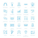 Dentist, orthodontics line icons. Dental care equipment, braces, tooth prosthesis, veneers, floss, caries treatment and Royalty Free Stock Images