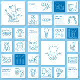 Dentist, orthodontics line icons. Dental care equipment, braces, tooth prosthesis, veneers, floss, caries treatment  Stock Images