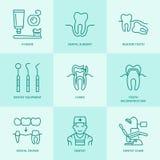 Dentist, orthodontics line icons. Dental care equipment Royalty Free Stock Images