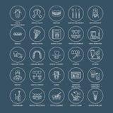 Dentist, orthodontics line icons. Dental care equipment  Royalty Free Stock Image