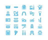 Dentist, orthodontics line icons. Dental equipment, braces, tooth prosthesis, veneers, floss, caries treatment medical. Elements. Health care thin linear signs Stock Photo