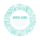 Dentist, orthodontics medical banner with vector line icon of dental care equipment, braces, tooth prosthesis, veneers Stock Photos
