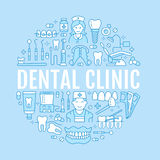 Dentist, orthodontics medical banner with vector line icon of dental care equipment, braces, tooth prosthesis, veneers Royalty Free Stock Image