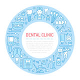 Dentist, orthodontics medical banner with vector line icon of dental care equipment, braces, tooth prosthesis, veneers Royalty Free Stock Photography