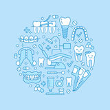 Dentist, orthodontics medical banner with vector line icon of dental care equipment, braces, tooth prosthesis, veneers Stock Photo