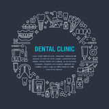 Dentist, orthodontics medical banner with vector line icon of dental care equipment, braces, tooth prosthesis, veneers Stock Images