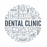 Dentist, orthodontics medical banner with vector line icon of dental care equipment, braces, tooth prosthesis, veneers Royalty Free Stock Photo