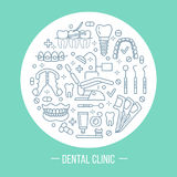 Dentist, orthodontics medical banner with vector line Royalty Free Stock Photos