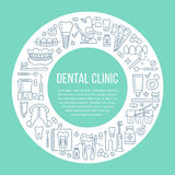 Dentist, orthodontics medical banner with vector line icon of dental care equipment, braces, tooth prosthesis, veneers. Floss, caries treatment. Health care Royalty Free Stock Photos