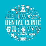 Dentist, orthodontics medical banner with vector line icon   Royalty Free Stock Photography