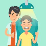 The dentist and the patient feels satisfied. With the treatment of the teeth.Background green stock illustration