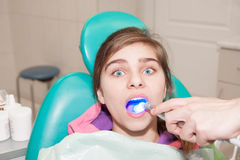 Dentist and patient. Girl is being treated by a dentist Stock Image