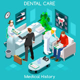 Dentist patient medical history waiting room before medical visit.. Hospital clinic reception patients waiting medical consult. Healthcare 3D flat isometric Royalty Free Stock Photography
