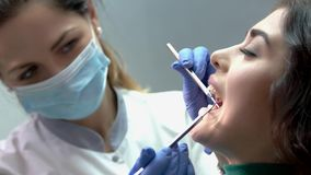 Dentist, patient with open mouth. Female doctor at work. Stomatologist of top category stock video footage