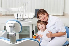 Dentist and patient smiling Stock Image