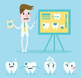 Dentist point to whiteboard and teethes character set. Royalty Free Stock Photography