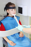 Dentist prepare boy to jaw x-ray image Stock Image