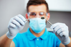 Dentist is ready to start dental checkup. Stock Images