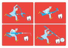 Dentist runs for a tooth. Allusion to the topic of dentistry. Dentist runs quiet Royalty Free Stock Images