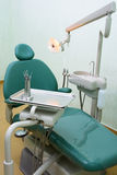 Dentist's chair. Dentist's workplace with chair and tool Royalty Free Stock Photography