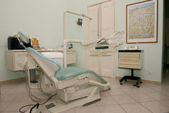 Dentist's chair. Modern studio with dentist tools on chair Stock Photography