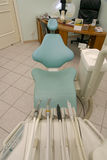 Dentist's chair. Modern studio with dentist tools on chair Royalty Free Stock Photos