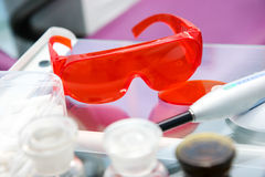 Dentist's  glasses in a dentistry Royalty Free Stock Photo