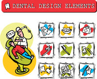 At dentist's office icons set clipart Royalty Free Stock Images