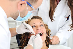 Dentist's teeth checkup Stock Photo