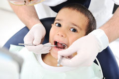 Dentists teeth checkup, series of related photos Royalty Free Stock Photos